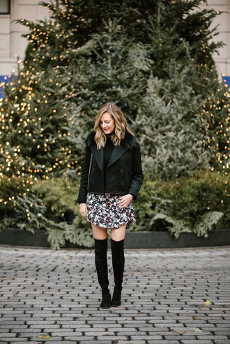 see jane blogger coat dress shoes thigh high boots mini dress black jacket winter outfits