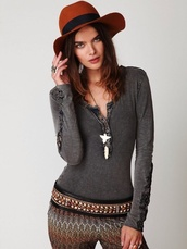 top,crochet cuff henley