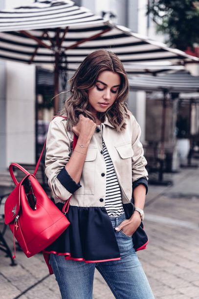 t-shirt jacket officer jacket backpack leather backpack denim jeans ruffle hem blogger blogger style striped t-shirt
