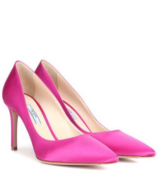 Prada pumps satin pink shoes