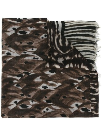 printed scarf women scarf silk wool brown