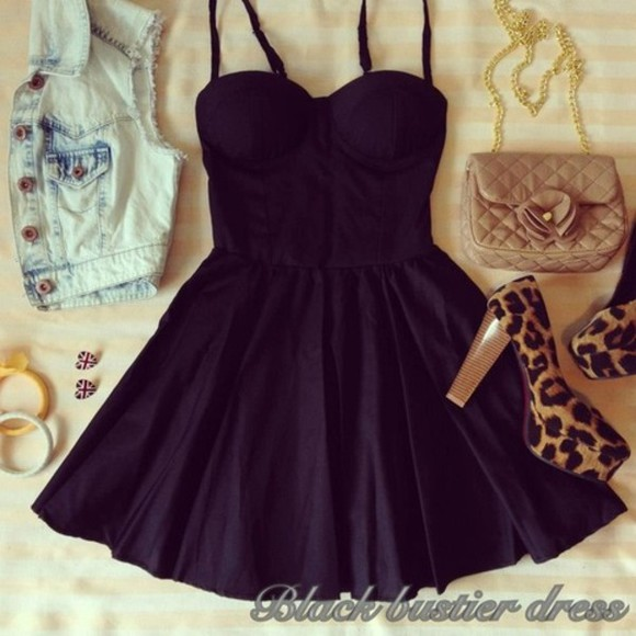 dress black little black dress short dress cute dress pretty dress beautiful bustier bag shoes little cute girly cheeta print denim jacket high heels jacket black#dress#mini summer dress little black dress
