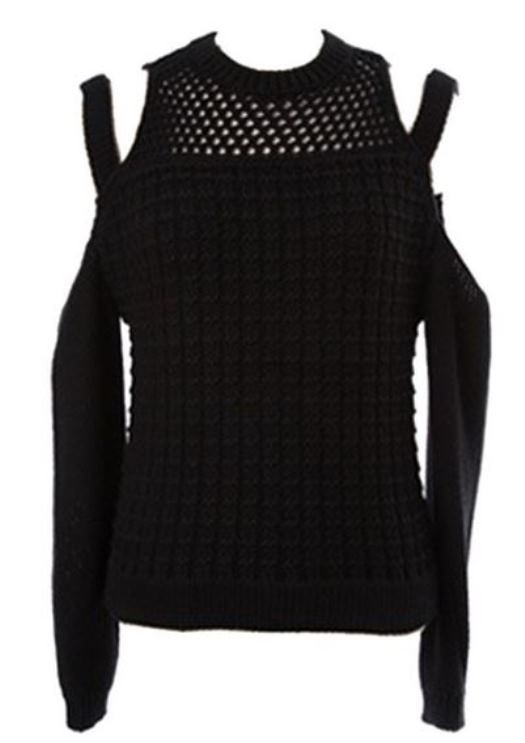 Black Cold Shoulder Knit Sweater with Hollow Out Detail