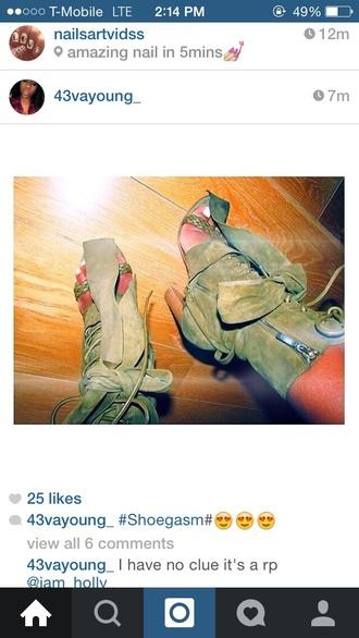 shoes bootie wooden heel block heels green high heels boots