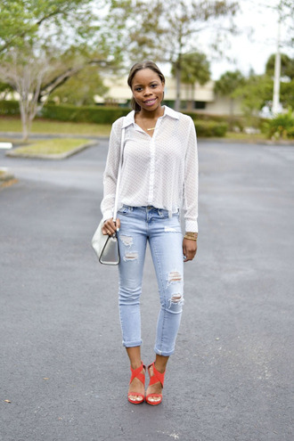 cha cha the fashion genius blogger ripped jeans white blouse red heels