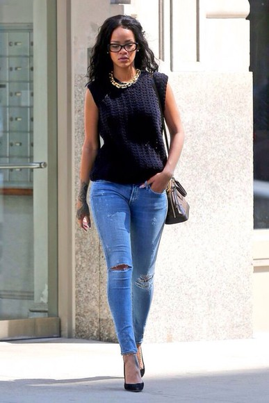 knitted shirt jeans ripped jeans skinny jeans rihanna knitwear jewels top