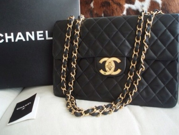bag chanel chanel bag black blackbag black bag black bags gold braided strap