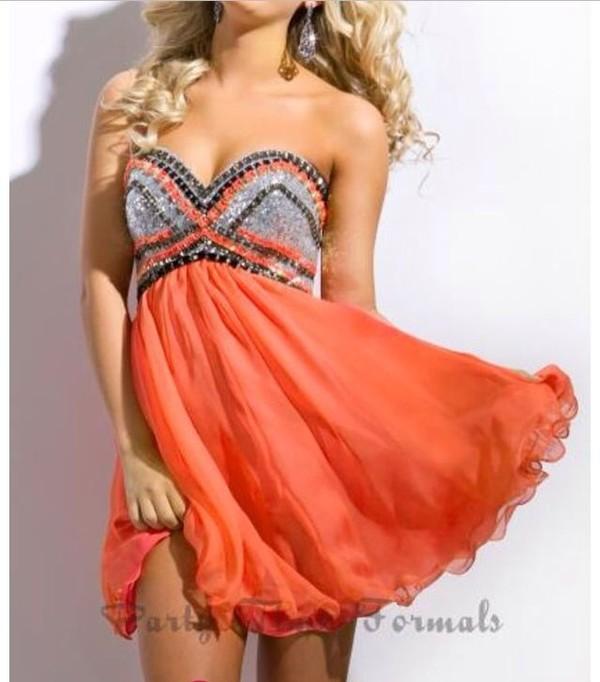 dress coral black silver sparkle rhinestones homecoming homecoming dress homecoming dress coral dress