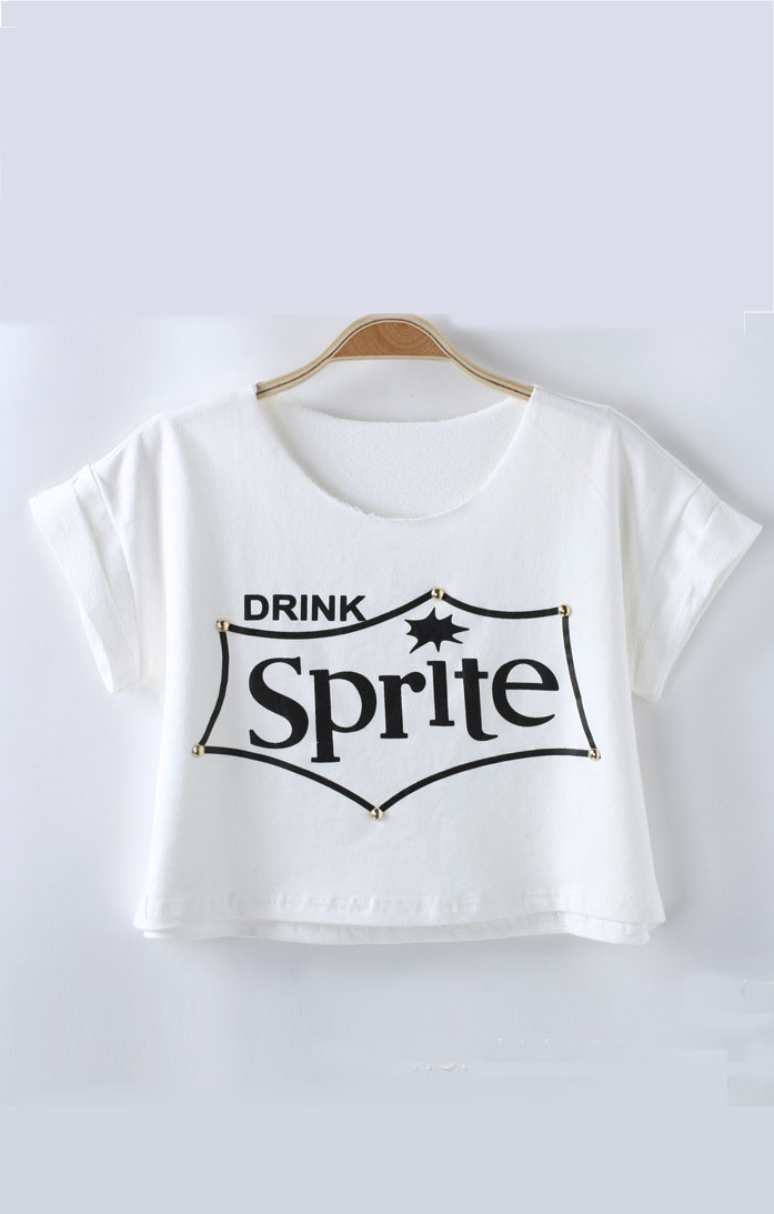 Rivet Decorated Letters Printing T-shirt