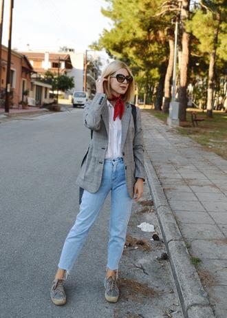 jacket tumblr grey blazer plaid plaid blazer check blazer denim jeans blue jeans shirt white shirt shoes