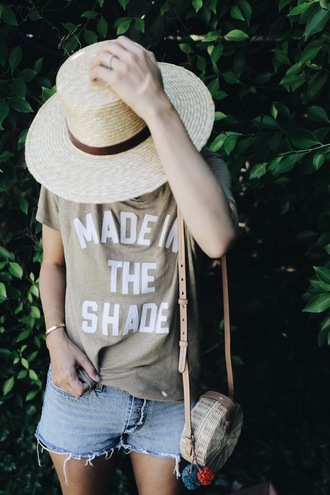 t-shirt hat tumblr nude t-shirt quote on it sun hat bag round bag shorts denim denim shorts