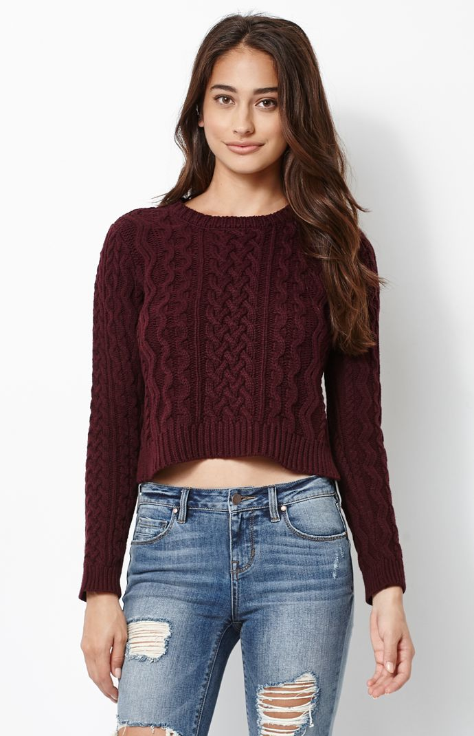 & Kylie Cable Stitch Cropped Pullover Sweater at PacSun.com
