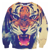 blouse,sweater,tiger,face,animal print,sweatshirt