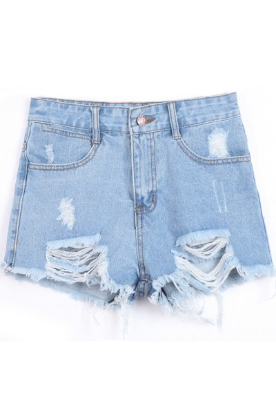 KCLOTH Washed Blue Pockets Ripped Zipper Denim Shorts