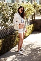 bag,stripes,stripped blazer,blazer,skirt,stripped skirt,brown bag,sunglasses,sneakers