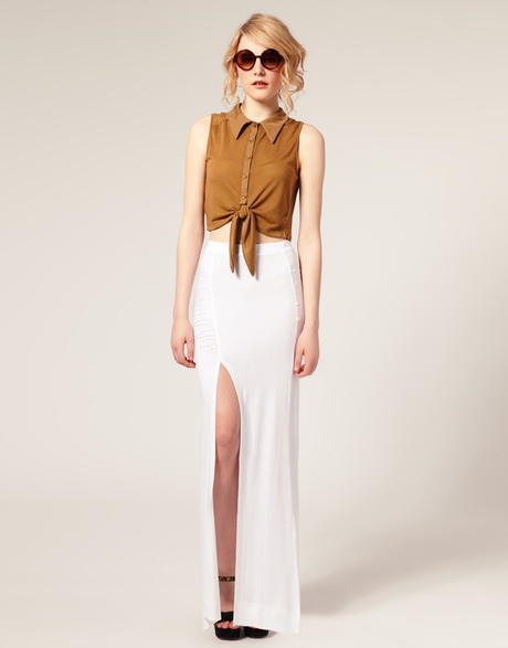 Collection Asos Side Split Maxi Skirt in White | Lyst