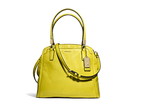 COACH Madison Leather Mini North/South Satchel Light Gold/Acid Green - Zappos.com Free Shipping BOTH Ways