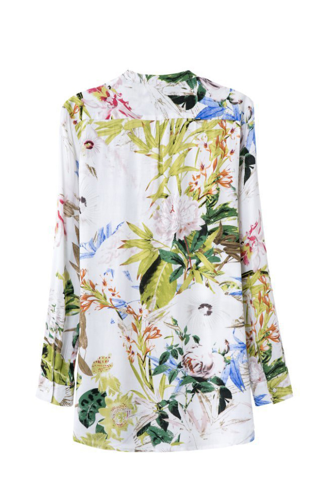 Fashion Leaves Printing Stand Collar Long Sleeve Blouse