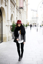flirting with fashion,blogger,scarf,fedora,jacket,blouse,sweater,jeans,shoes,bag,jewels,hat