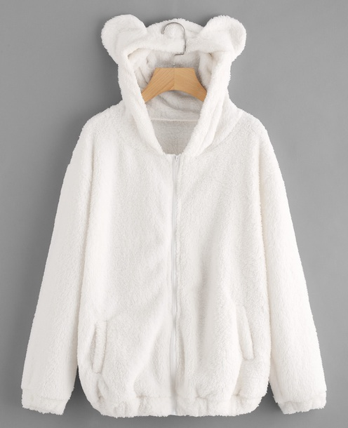 jacket girly white fur hoodie comfy zip zip-up zip up jacket