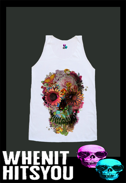Skull Skullhead Goth Gothic Skeleton Flower Floral Shirt Tshirt Singlet Vest R10281 Tank Top - Tanks Tops & Camis | RebelsMarket