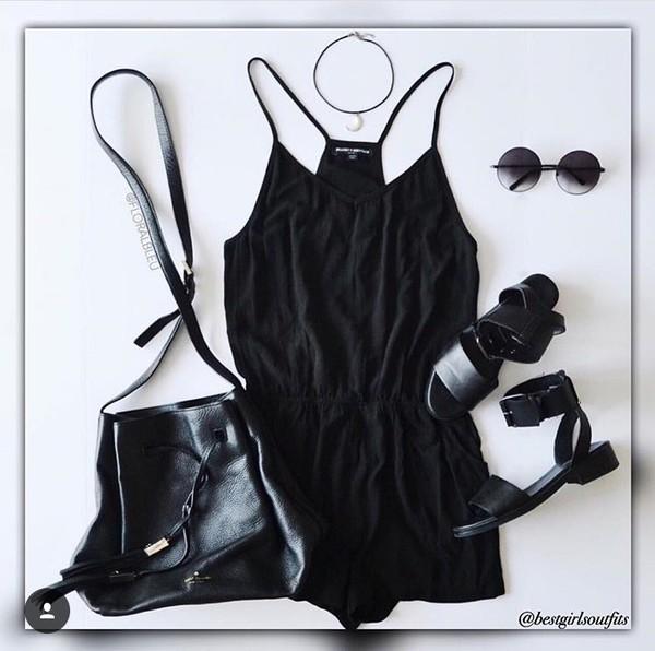 romper purse shoes sunglasses accessories black romper