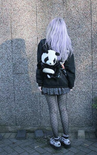 bag jacket kawaii kawaii bag polka dots tights black tights stockings polka dots tights funny tights nylons gothic lolita