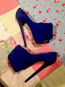 Royal blue suede high heels platforms 7 inch killer party size 5