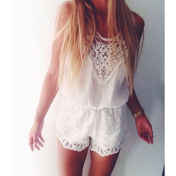romper beautiful romper beautiful jumpsuit white lace top summer outfits cute girly
