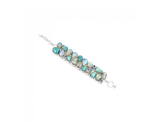 Genuine 925 sterling silver Larimar Rainbow Moonstone And Blue Topaz Gemstone Cluster Bracelet