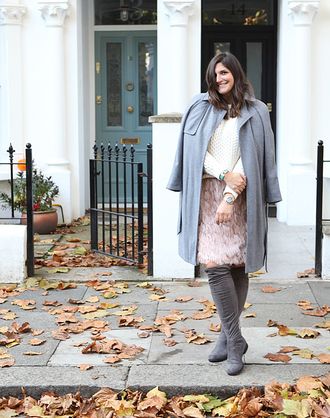 fashion foie gras blogger coat sweater skirt shoes grey boots thigh high boots grey coat pink skirt white cable knit sweater over the knee boots boots flat boots