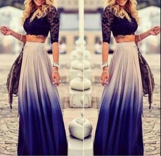 skirt gypsy dress style fashion blue skirt