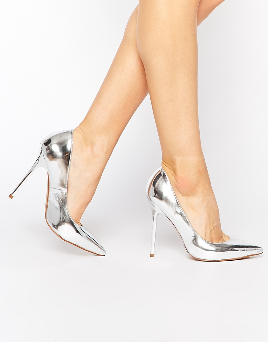b1ed9a3301c51 Dune Aimey Silver Metallic Heeled Court Shoes at asos.com