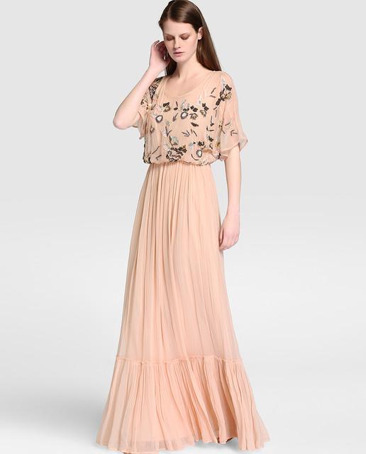 Vestido de mujer Amitié en nude con pedrería