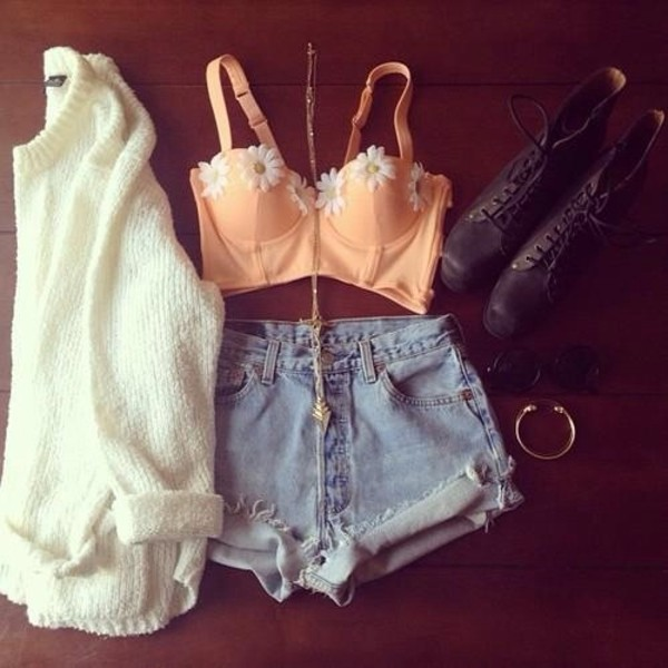 blouse tank top shorts shoes