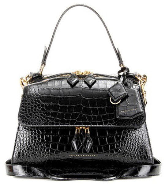 Victoria Beckham Full Moon Small Embossed Leather Tote in black