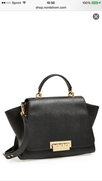 bag black and gold zac posen leather bag black