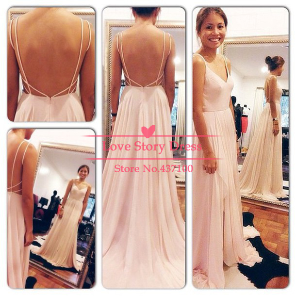 Sexy open back Spaghetti straps vestidos de gala 2014 Chiffon evening dress long Wheretoget  robe de soire Weddings events on Aliexpress.com