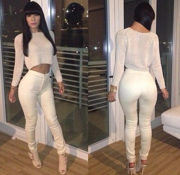 pants white high waisted high waist pants jeans tight sweater high waisted pants