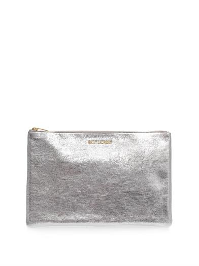 Letters leather pouch clutch