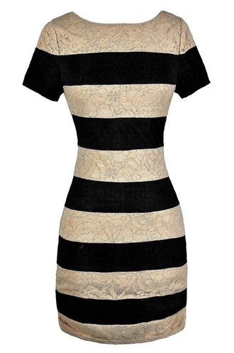 dress black lace striped sleeves