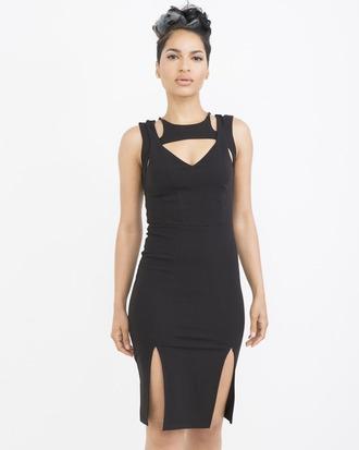 dress black black dress cut-out dress slit dress