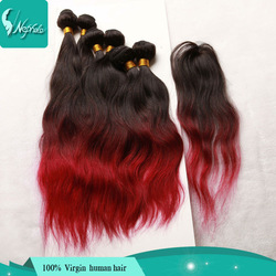 Online Shop ombre burgundy hair brazilian natural wave ombre three tone human hair 6pcs and 1pc top closure ombre brazilian hair extensions|Aliexpress Mobile