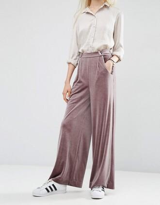 pants want need wide-leg pants velvet adidas superstars