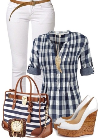 top blue and white plaid shirt