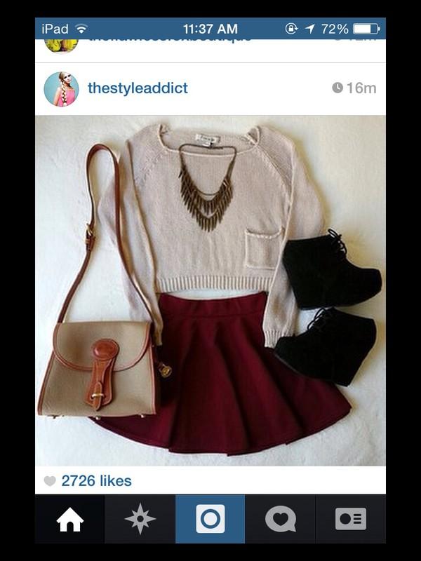 bag skirt shoes
