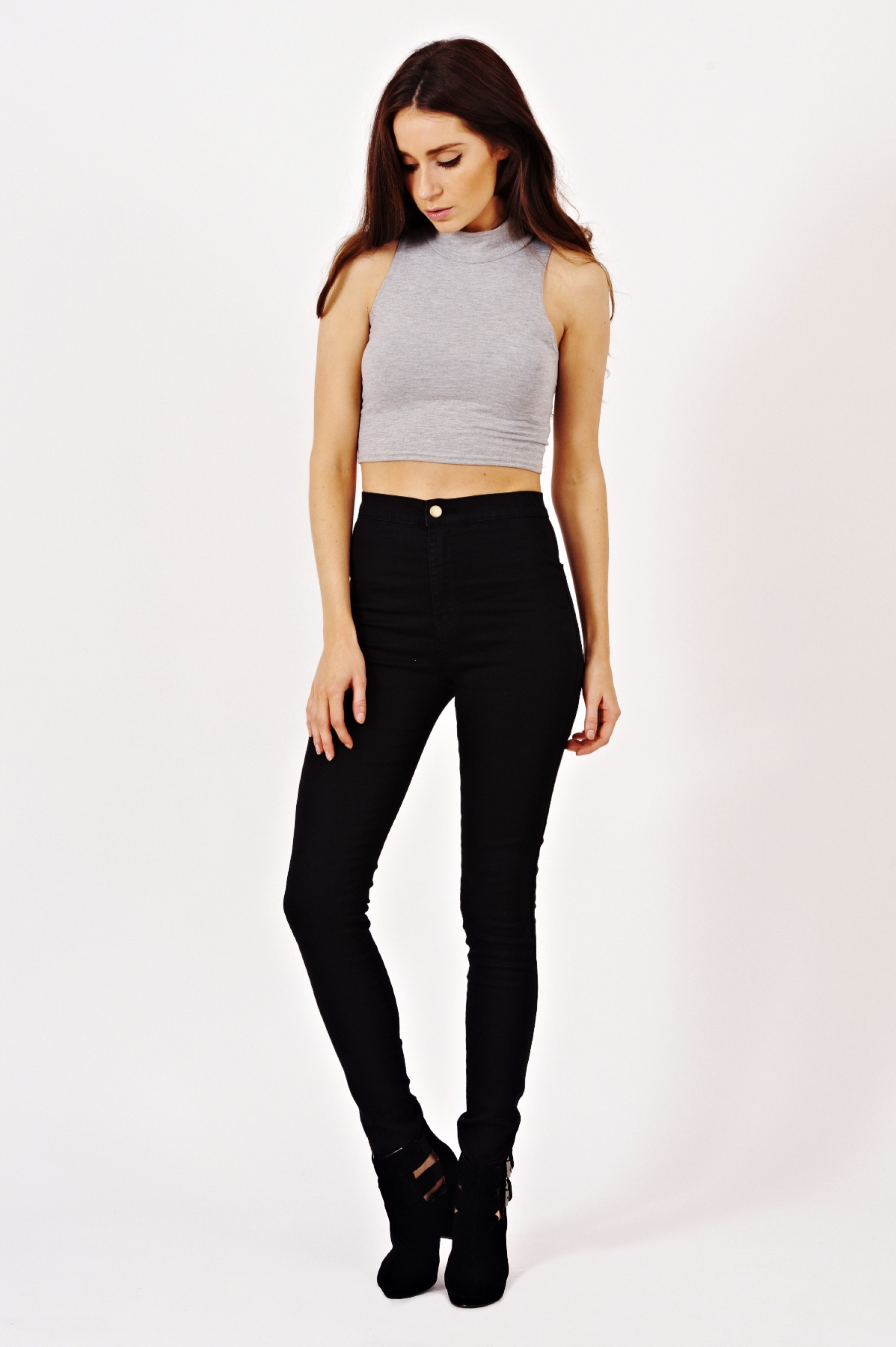 High Waisted Skinny Jeans In Black | Shelikes