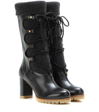 boots leather wool black shoes