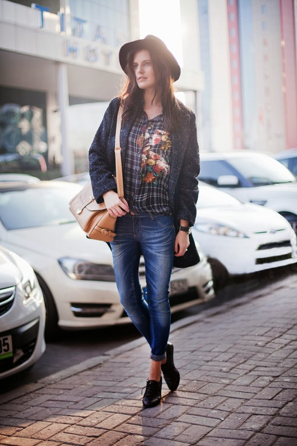 the bow-tie blouse bag coat jeans hat