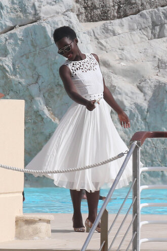 dress midi dress white white dress lupita nyong'o cannes shoes